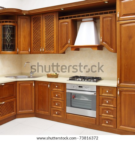 The new kitchen room, modern design - stock photo