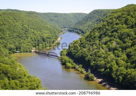 The New River Gorge from the overlook at Hawks Nest State Park in West Virginia. - stock photo
