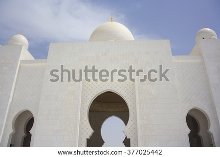 The new Sheikh Zayed Bin Sultan Al Nahyan Mosque in Abu Dhabi, U.A.E.  Sheikh Zayed Grand Mosque in Abu Dhabi, UAE.  - stock photo