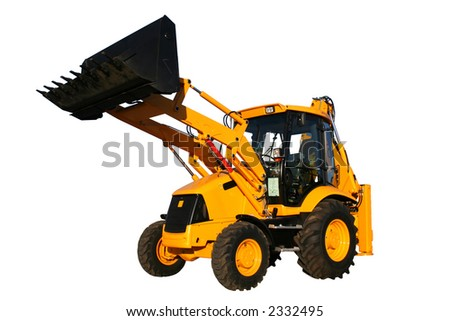 The new universal bulldozer with the lifted bucket on a white background, Isolated - stock photo