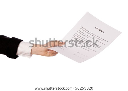 The new worker holds the contract in the hand - stock photo