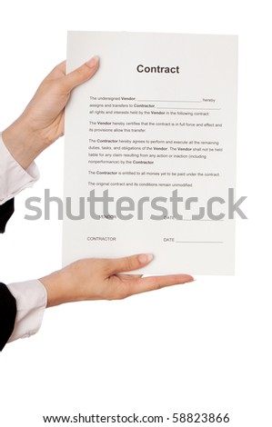 The new worker holds the contract in the hands - stock photo
