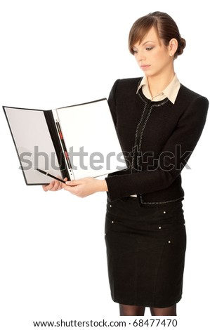 The new worker holds the white blank paper in the folder and making presentation - stock photo