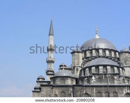 The New (Yeni) Mosque in Istanbul, built from 1597-1663. - stock photo