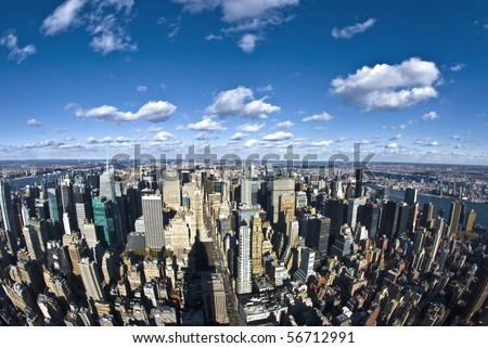 The New York City panorama with 5th Avenue - stock photo