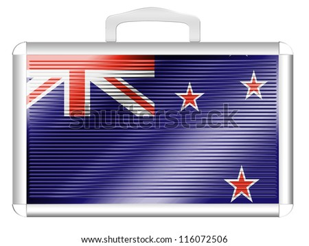 The New Zealand flag painted on  metal aluminum case - stock photo