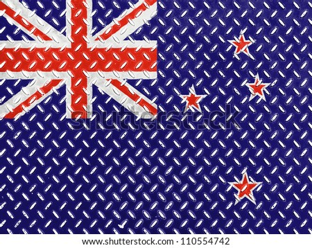 The New Zealand flag painted on  metal floor - stock photo