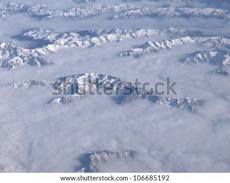 The New Zealand's Sothern Alps looking from above - stock photo