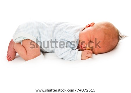 the newborn baby on white background - stock photo
