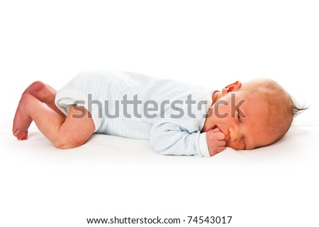 the newborn baby on white background - stock photo