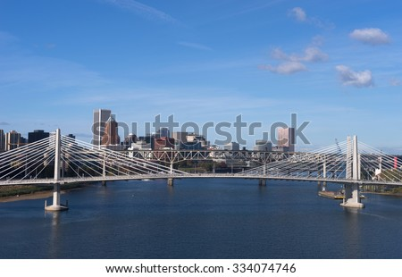 The newest bridge across Portland's famous riverfront - stock photo