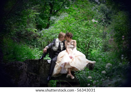 the newly married couple sitting on the rock in the forest - stock photo