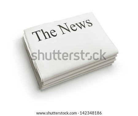 The News, stack of blank newspapers isolated on white background with copy space - stock photo