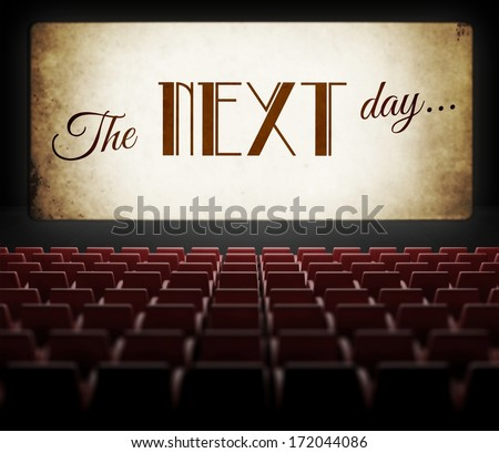 The next day movie screen in old retro cinema, view from audience - stock photo