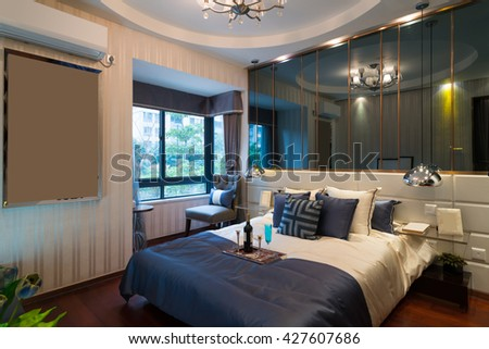 the nice bedroom with luxury decoration
