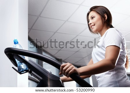 The nice girl goes in for sports - stock photo