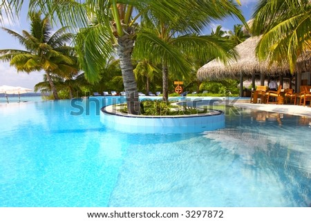 the nice pool, maldives, indian ocean - stock photo