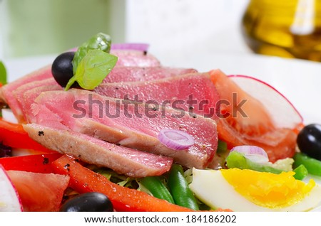The nicoise with fresh tuna and vegetables - stock photo