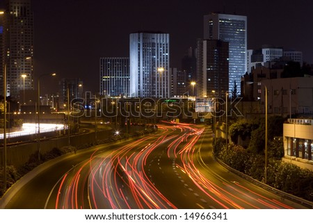 The night city - Ramat Gan - stock photo