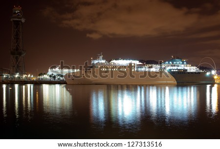 The night ferry harbor of Barcelona. Port Well, Spain - stock photo