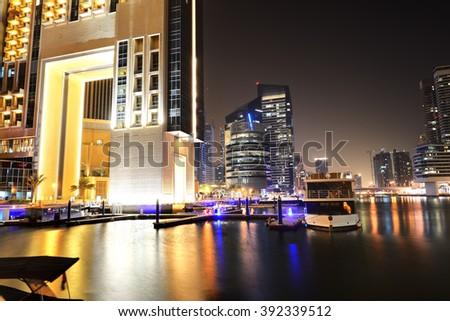 The night illumination of Dubai Marina, UAE - stock photo