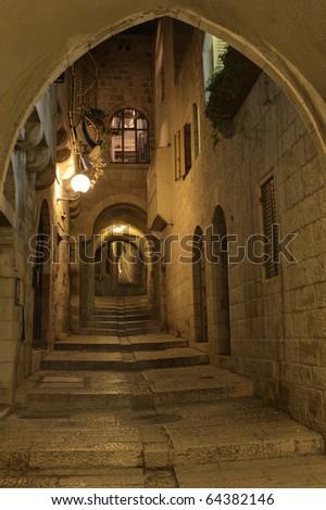 The night in Jerusalem streets - stock photo