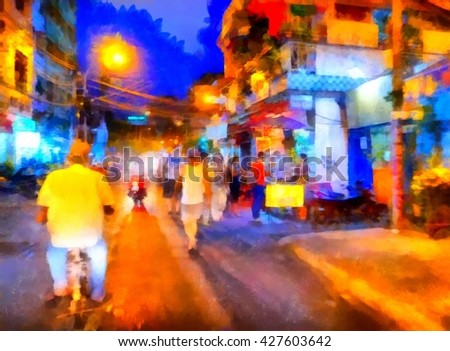 The night market in Asia in watercolor. Digital painting structure - stock photo