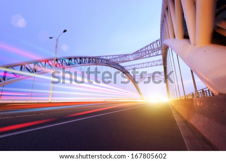 the night of modern bridge - stock photo