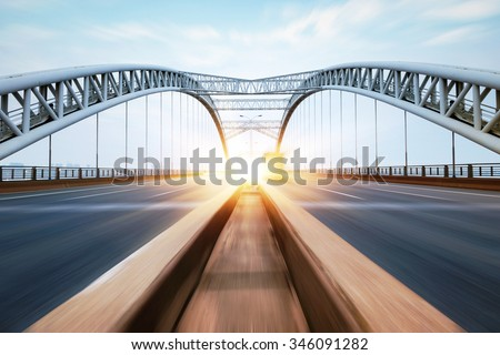 the night of modern bridge, - stock photo