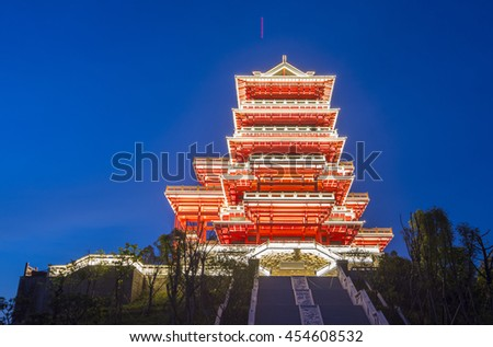 The night of the ancient tower - stock photo