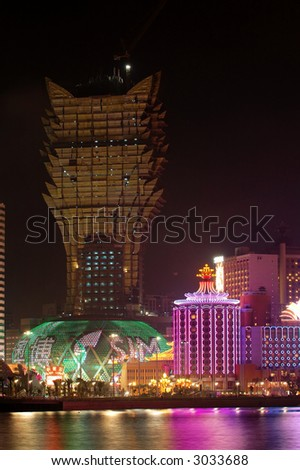 The night scene of new and old casino Lisboa, Macau
