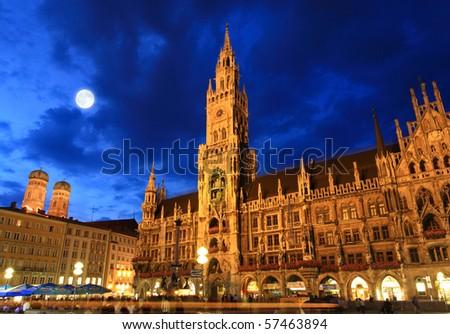 The night scene of town hall at the Marienplatz in Munich - stock photo
