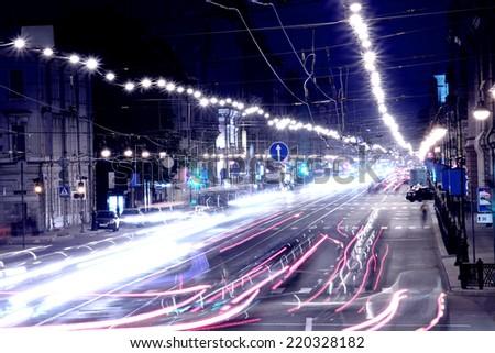 The night street of the big city - stock photo