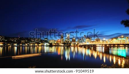 The night view of Portland skyline - stock photo