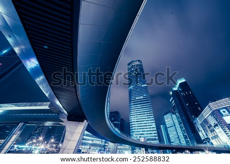 The night view of Shanghai - stock photo