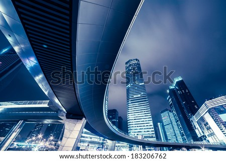 The night view of Shanghai, skyscrapers and Cloverleaf - stock photo
