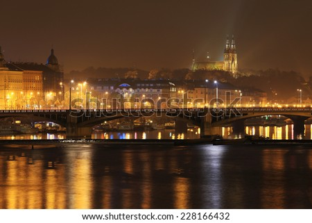 The night View on the Prague gothic Cathedral Vysehrad, Czech Republic - stock photo