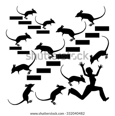 The Nightmare of Musophobia. Humorous concept sign of a woman in panic suffering from mice and rat phobia - stock photo
