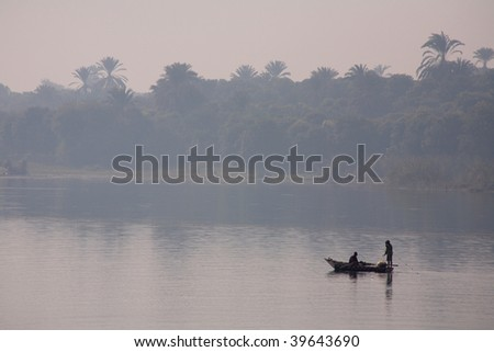 The Nile view with afternoon gauze, Egypt, Africa - stock photo
