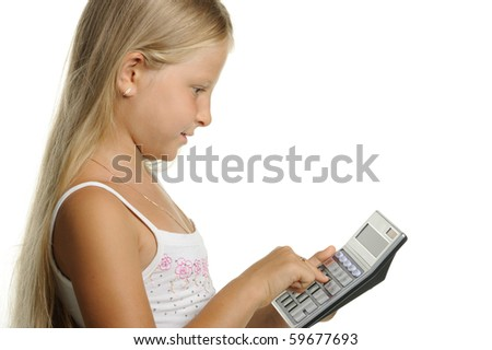 The nine-year girl the blonde with the calculator. It is isolated on a white background - stock photo