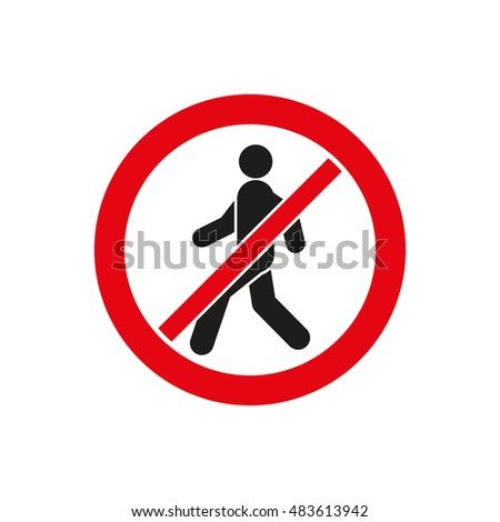 The no entry icon. Disallowed and danger, warning symbol. Flat  illustration