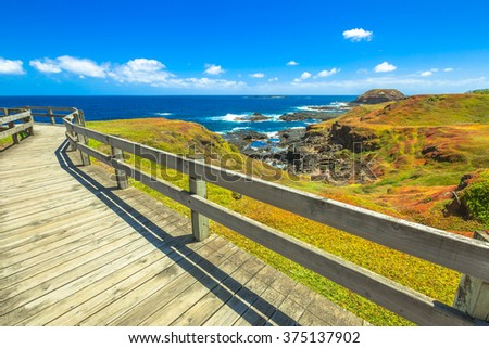 The Nobbies, boardwalks verso Seal Rocks. Grant Point, western tip of Phillip Island, Victoria, Australia - stock photo