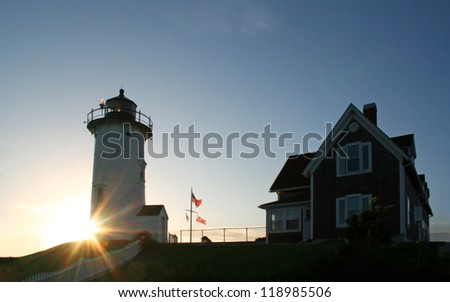 The Nobska Lighthouse in Cape Cod Massachusetts - stock photo
