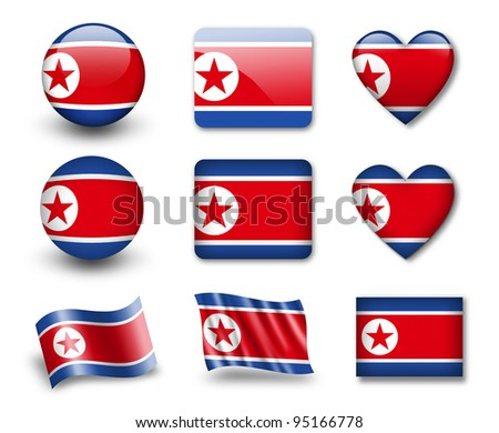 The North Korea flag - set of icons and flags. glossy and matte on a white background.