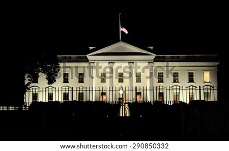 The North Lawn of the White House in the night, Washington D.C. - stock photo