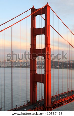 The North Tower of Golden Gate Bridge lit by the setting sun. Shot from Marin Headlands.