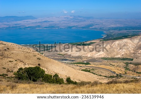 The northern part of the Sea of Galilee in Israel as seen from the Golan Heights - stock photo