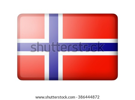 The Norwegian flag. Rectangular matte icon. Isolated on white background. - stock photo