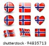 The Norwegian flag - set of icons and flags. glossy and matte on a white background. - stock photo