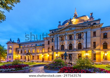 The Norwegian National Theater at night in Oslo, Norway. - stock photo